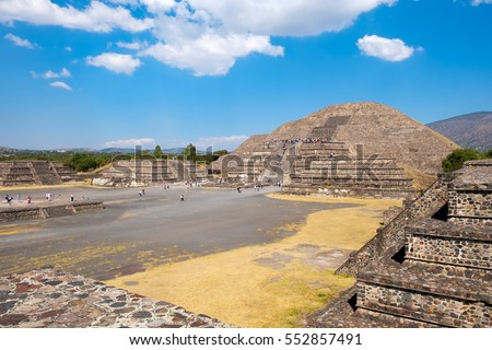The Pyramid of the Moon and other ancient ruins  at Teotihuacan, a major archaeological site near Mexico City