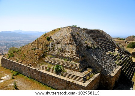 The pyramid ruins of Monte Alban - Oaxaca, Mexico - stock photo