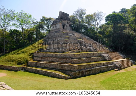 The pyramid ruins of Palenque, Mexico