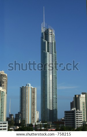 The Q1 tower is the highest residential building in the world. Due to open December 2005. GoldCoast Australia, Wonder or eyesore? - stock photo