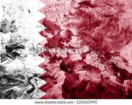 The Qatari flag painted dirty and grungy paper - stock photo