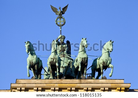 The quadriga on the Brandeburg Gate in Berlin, Germany. - stock photo