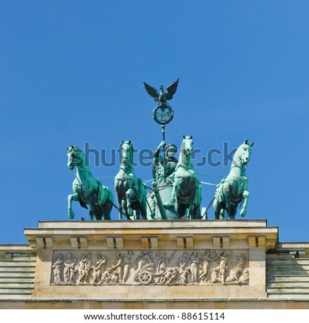 The Quadriga on the Brandenburger Tor (Brandenburg Gate) is one of the most famous landmarks in Berlin, Germany. - stock photo