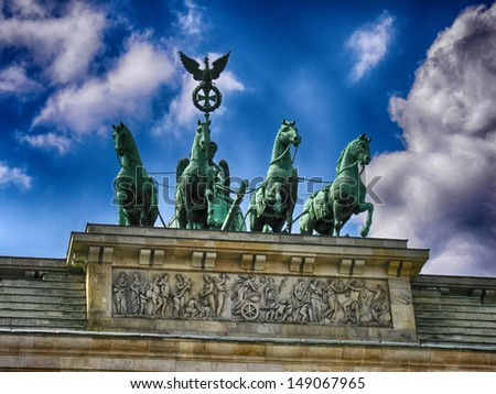 The Quadriga on top of the Brandenburg gate, Berlin. - stock photo