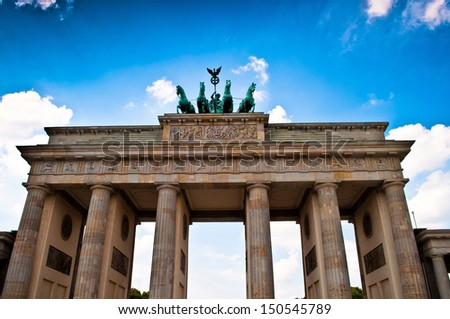 The quadriga on top of the Brandenburger Tor in Berlin in Germany - stock photo