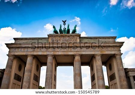 The quadriga on top of the Brandenburger Tor in Berlin in Germany - stock photo