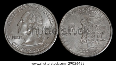 The quarter dollar from New Hampshire - stock photo