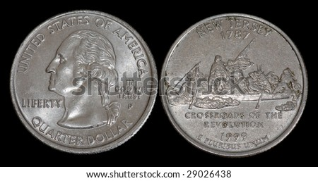 The quarter dollar from New Jersey - stock photo