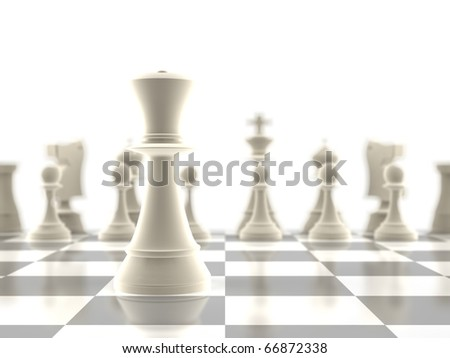 The queen chess piece standing infront of the rest of the pieces - stock photo