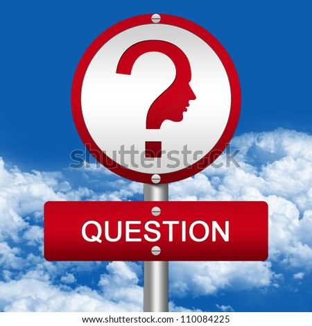 The Question Street Sign and Question Mark With Face Sign in Blue Sky Background - stock photo