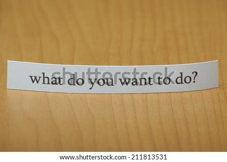 The question What do you want to do typed on a paper note standing on a wooden desktop with copy space - stock photo