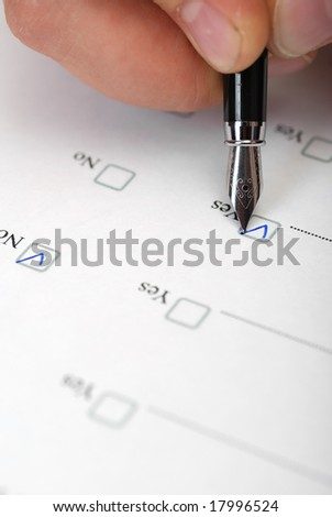 "The questionnaire. The form for filling ""yes"" or ""no"". - stock photo"