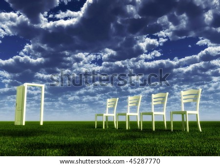 The queuing to afterlife - stock photo