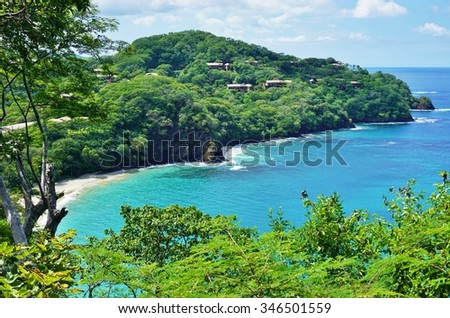 The quiet Playa Virador in Peninsula Papagayo in Guanacaste, Costa Rica - stock photo