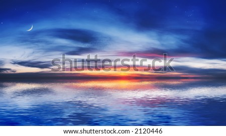 The quiet sea on a background of a beautiful sunset with the moon and stars - stock photo