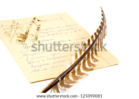 the quill and the paper sheet full of notes isolated on white background - stock photo