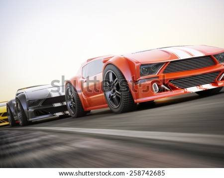 The race , Exotic sports cars racing with motion blur . Generic custom photo realistic 3d rendering. - stock photo