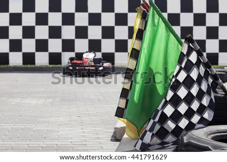 the racing card on a outdoors track - stock photo