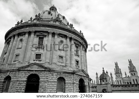 The Radcliffe Camera in black and white, Oxford