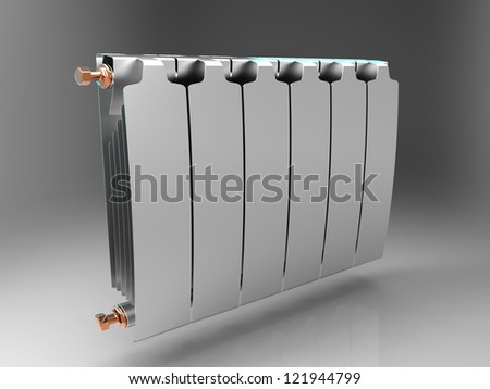 the radiator on a gray background - stock photo