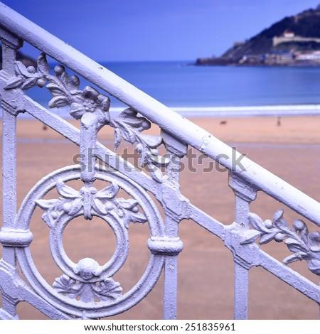 The railing-Donostia - stock photo