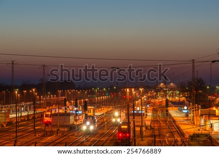 The railroad station late in the evening. Cottbus, Germany - stock photo