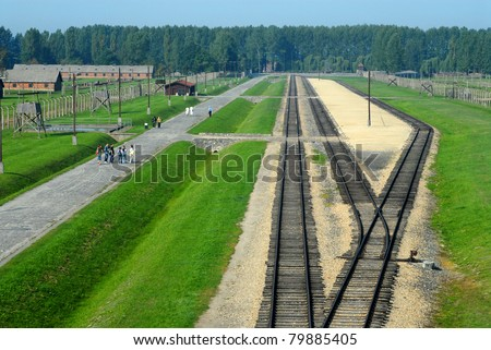The rails and platform in camp Auschwitz Birkenau