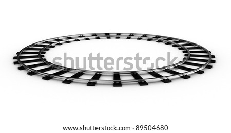 The railway for a train closed in a ring on a white background - stock photo