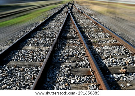 The railway junction  and speed motion background - stock photo