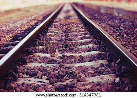 The railway junction  and speed motion background (retro style) - stock photo