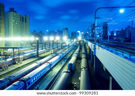 The railway station and elevated subway - stock photo