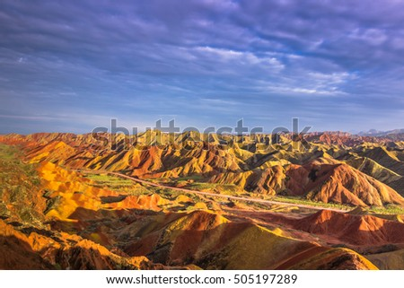 The rainbow mountains in Zhangye, China
