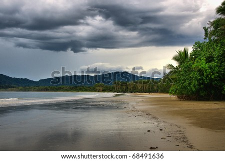The rainforest meets the Coral Sea, Daintree National Park, Queensland, Australia - stock photo