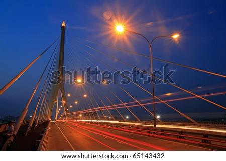 The Rama VII Bridge, Bangkok, Thailand - stock photo