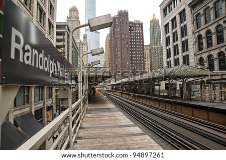 The Randolph/Wabash stop on the Chicago el. - stock photo