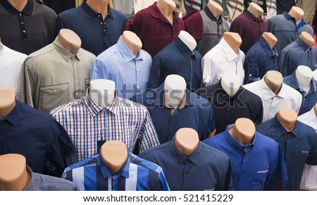 The range of men's shirts on mannequins in the market (selective focus)
