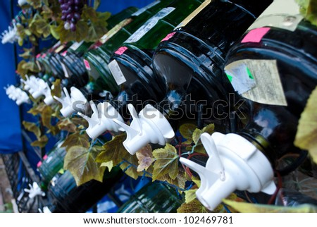 The range of wines offered for sale. - stock photo