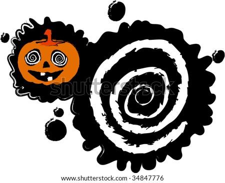 the raster halloween blot banner - stock photo