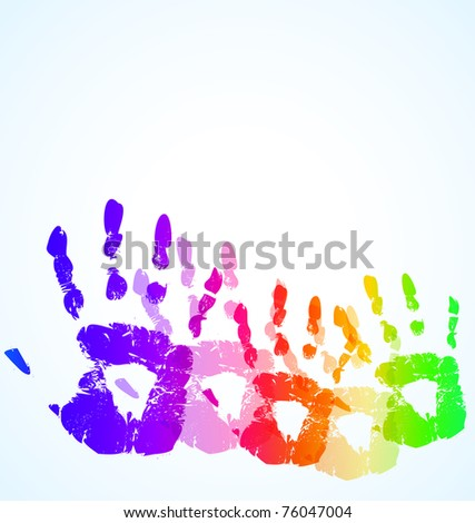 the raster hand print abstract color background - stock photo