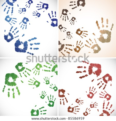 the raster handprint color background set - stock photo