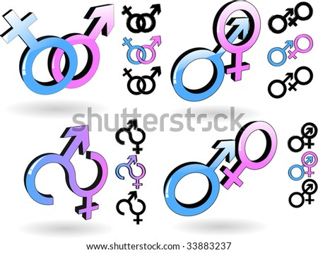 the raster male and female symbol (vector version in portfolio) - stock photo