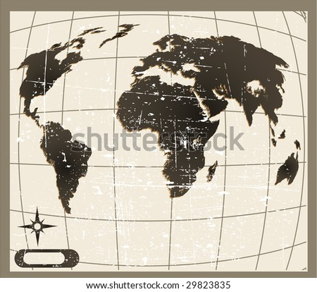 the raster old world map - stock photo