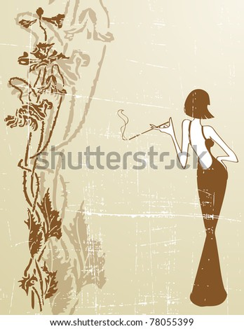 the raster retro grunge background - stock photo