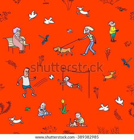 The raster seamless pattern with walking and resting people
