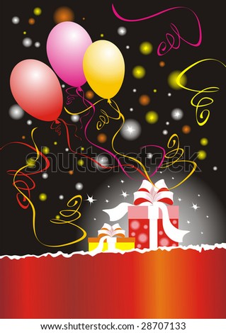 The raster version celebration background with balloons and gift. - stock photo