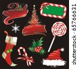 the raster version Christmas banners and design elements. - stock photo