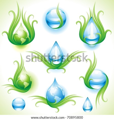 The raster version collection of eco-icons. - stock photo