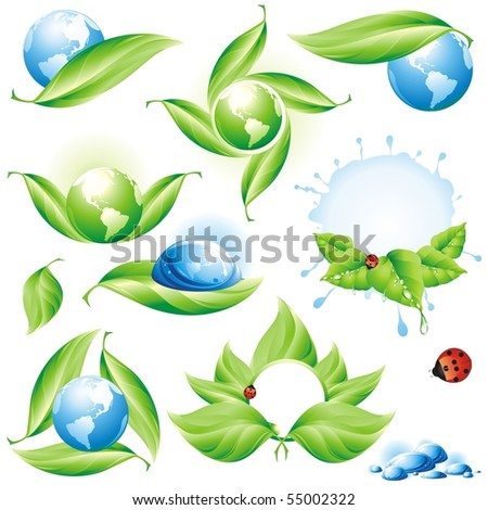 the raster version Collection of green eco-icons. - stock photo