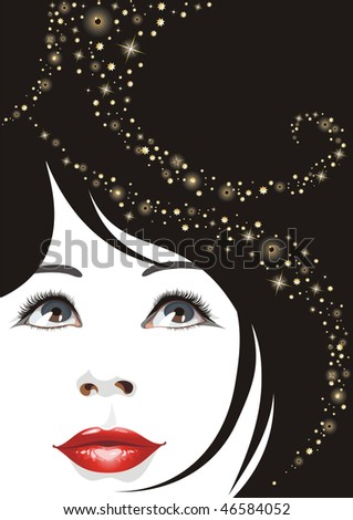 the raster version portrait of the beautiful woman. - stock photo