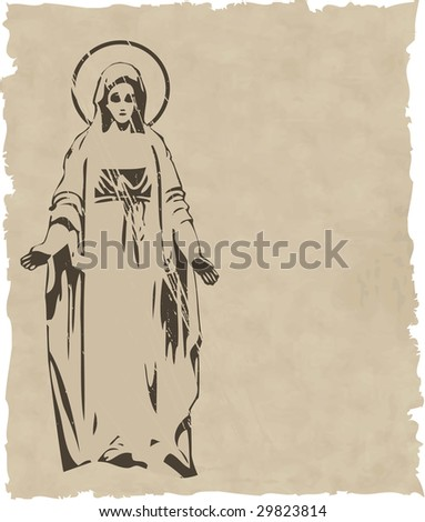the raster Virgin Mary statue silhouette - stock photo